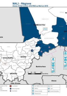 Carte zones_intervention d'ACTED Mali 2018