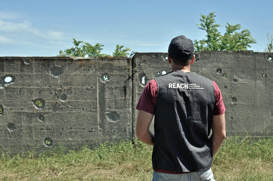 In the field – direct observation of damage from shelling in Donbas.